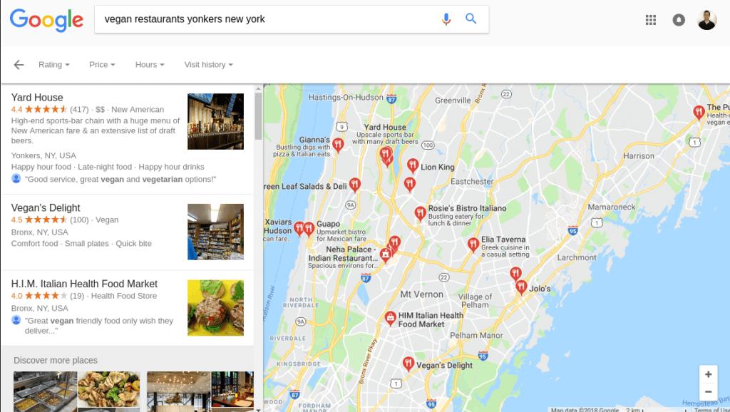 google vegan restaurant results