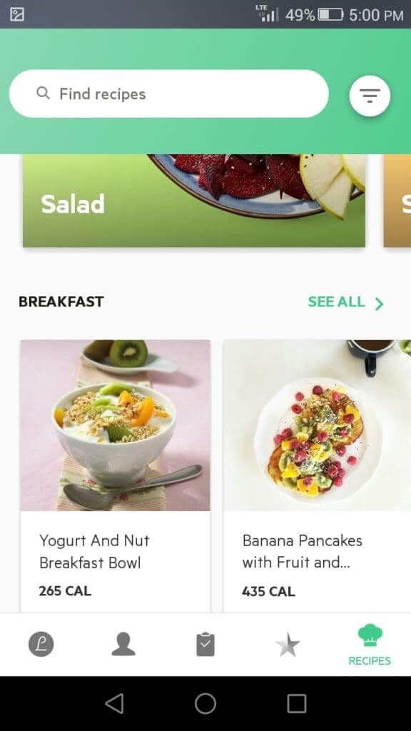 lifesum find recipes functionality