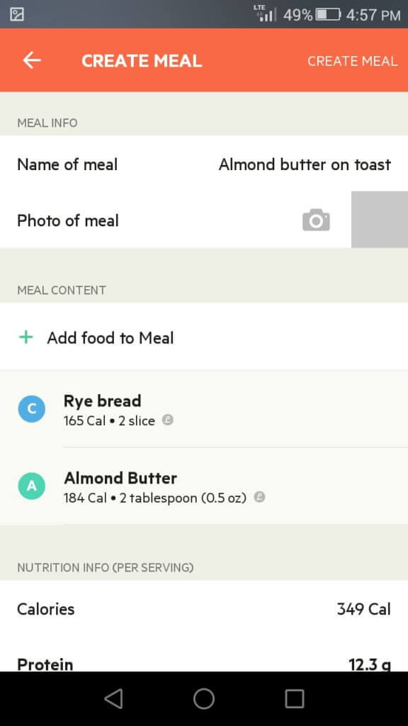 create meal on lifesum options