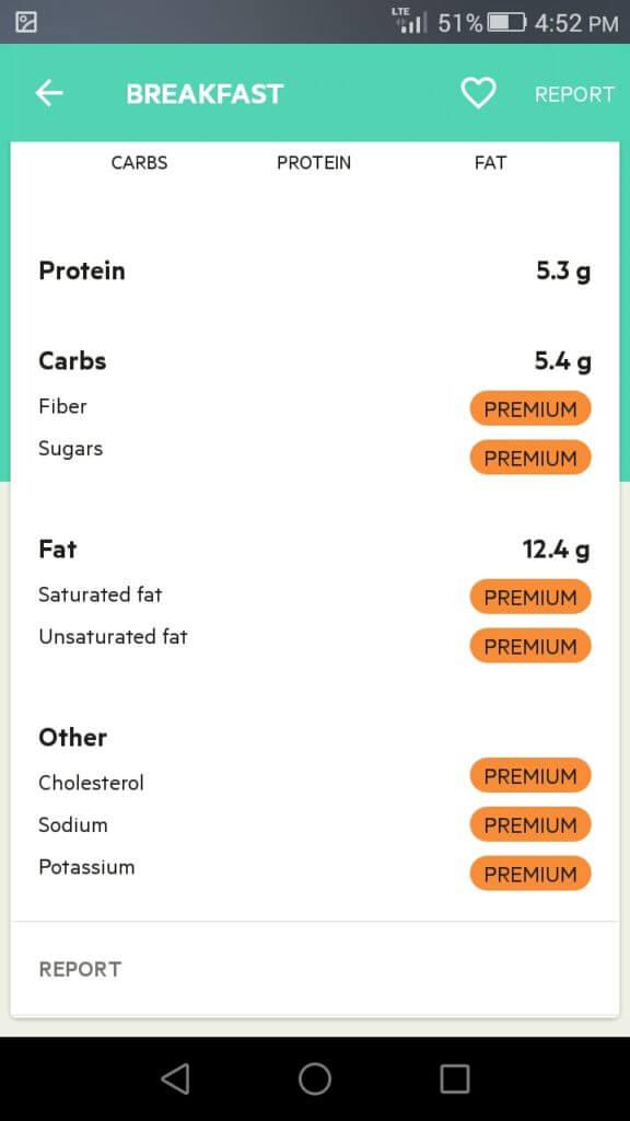 lifesum nutritional info