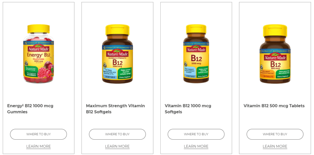 nature made b12 product line