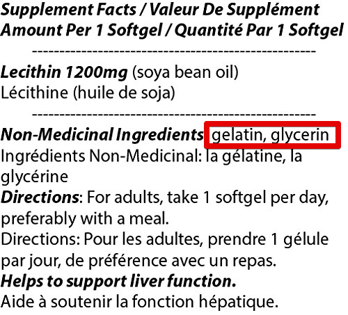 soy lecithin non vegan ingredients in pills