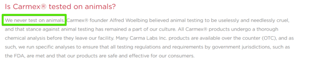 carmex animal testing faq