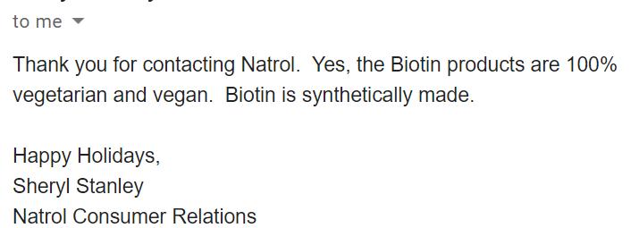 natrol biotin vegan email