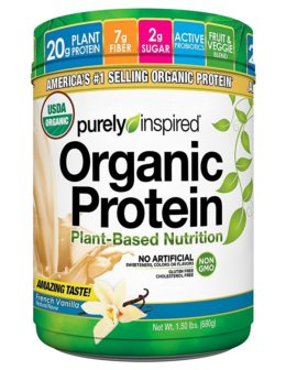 Purely Inspired organic plant protein powder packaging