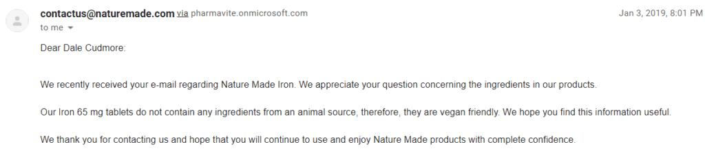 email from nature made iron