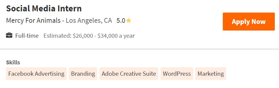 social media intern job posting