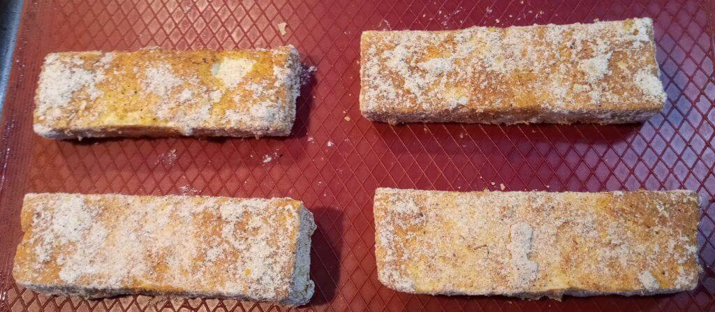 breaded tofu in oil