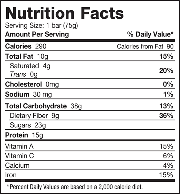 vegan greens bar nutrition facts
