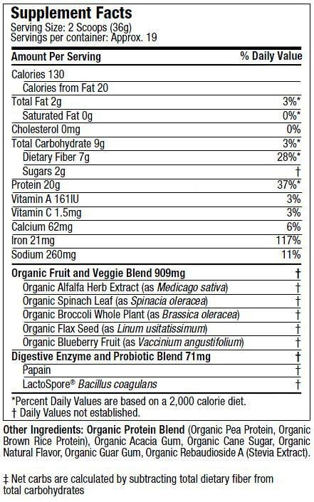 Purely Inspired Organic Protein Powder nutrition label