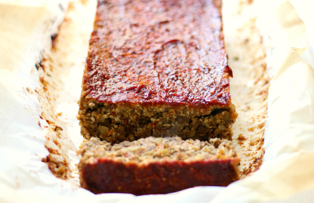vegan cauliflower lentil loaf