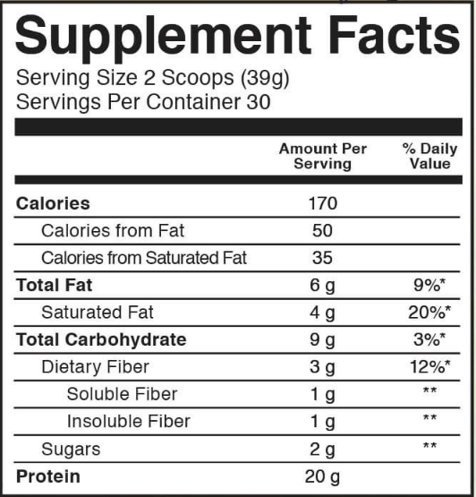 kos protein nutrition facts