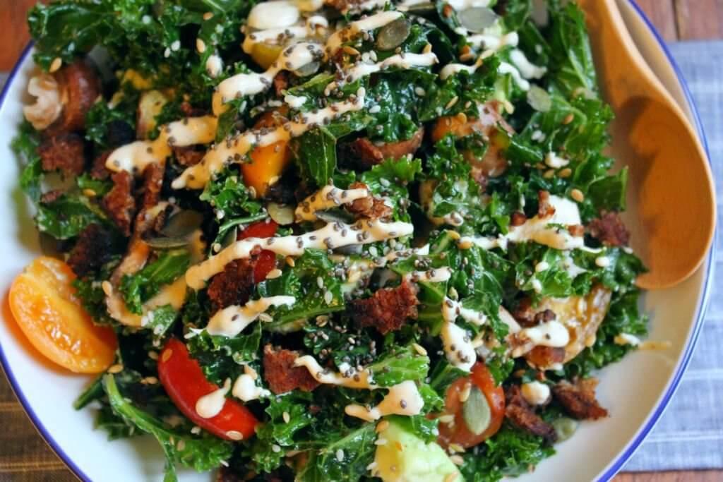 protein caesar salad vegan