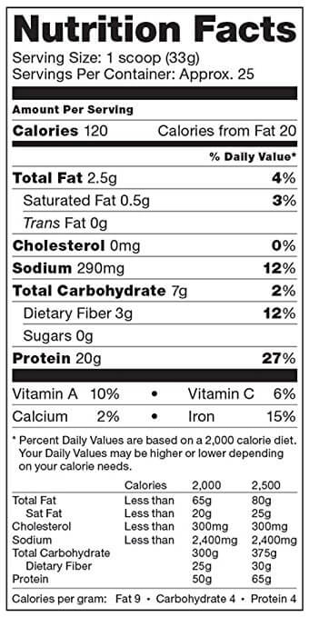 vega protein and greens nutrition label