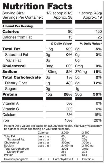 vega sport nutrition label