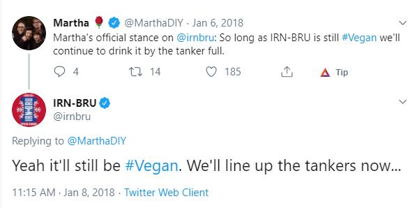 irn bru vegan mention on social media