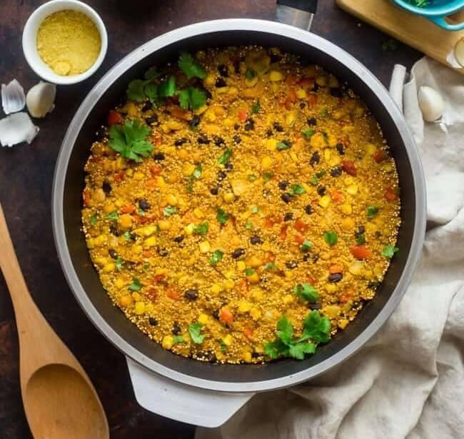 cheesy mexican vegan quinoa