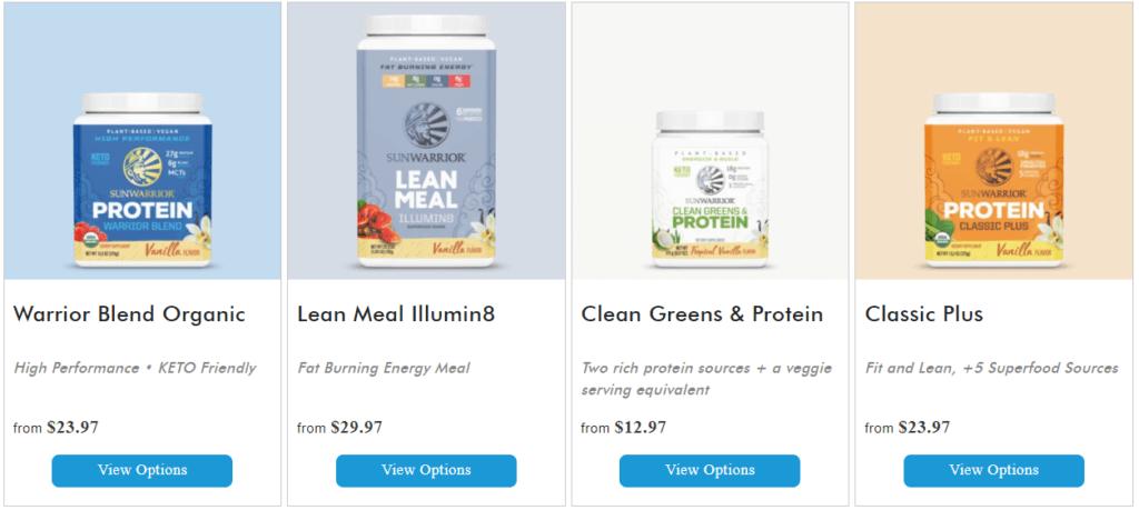 sunwarrior protein powder products
