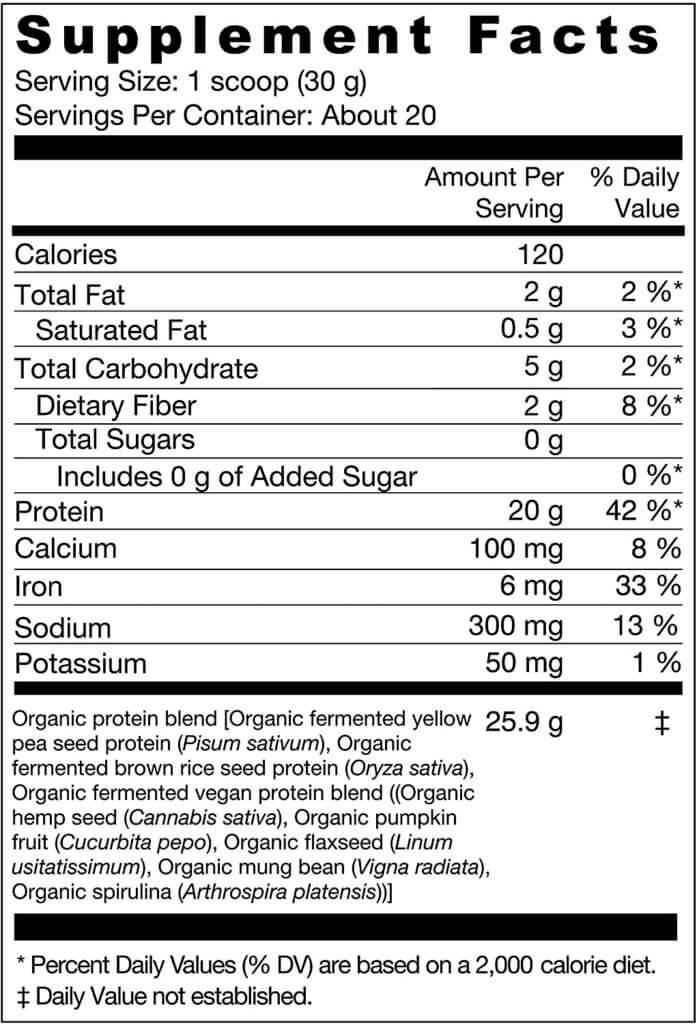 genuine health vegan protein powder nutrition facts
