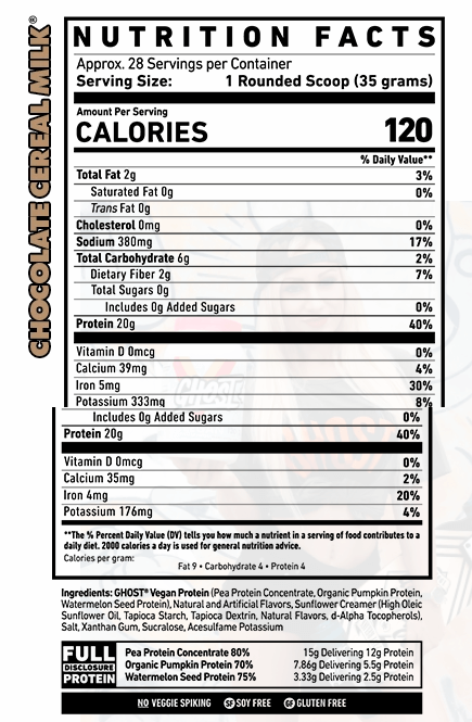 ghost vegan protein nutrition facts
