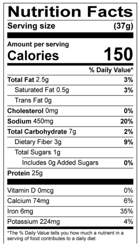 natreve nutrition facts